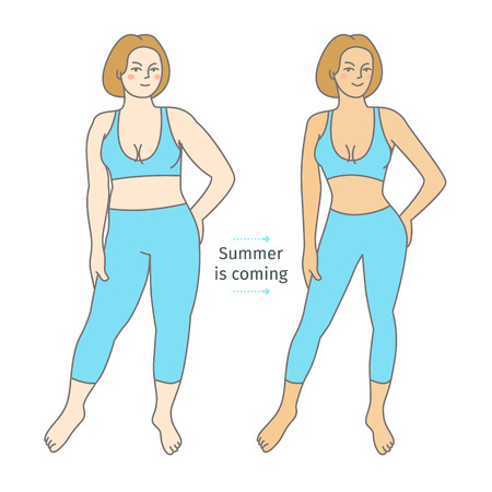 oversize: Concept of diet. Woman before and after a diet. Flat design, vector illustration.