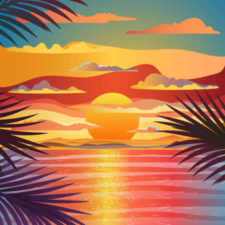 beach sunset: Beautiful beach sunset landscape. Flat design, vector design illustration. Illustration