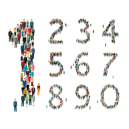 Numbers formed out of people. Top view. Flat design, vector illustration.