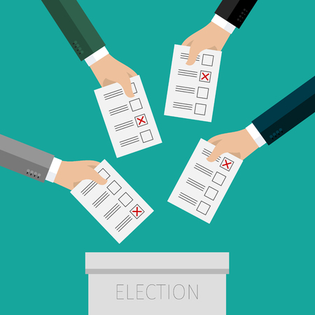 voting: Concept of voting. Hands putting voting paper in the ballot box. Flat design, vector illustration.