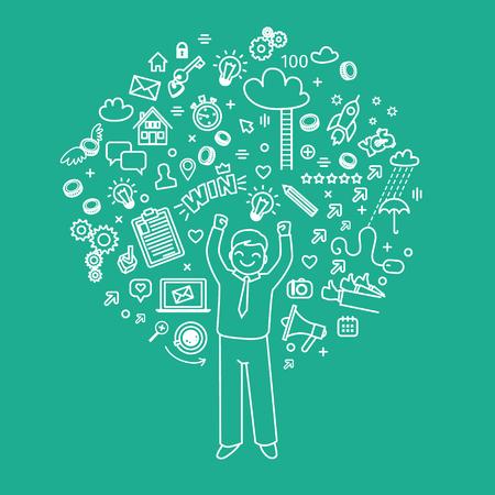 blogging: Concept of blogging. Business doodles. Vector illustration Illustration
