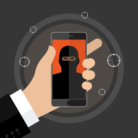 battle evil: Concept of terrorism. Man hold phone with icon of terrorist on screen. Flat design, vector illustration.