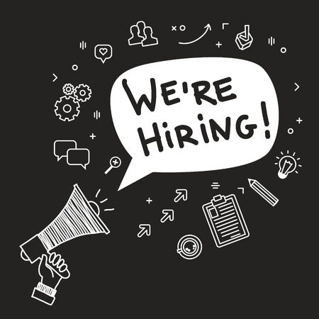 Concept of  recruitment. We are hiring. Hand holding megaphone. Hand drawn vector illustration.