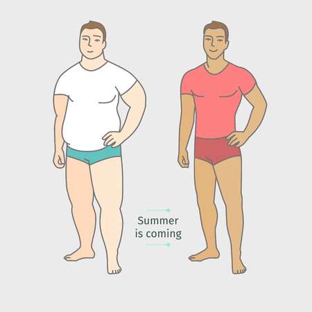 oversize: Concept of diet. Man before and after a diet. Flat design, vector illustration.