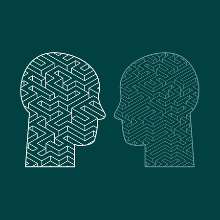 complexity: Human intelligence puzzle with a maze in the shape of a human head as a symbol of the complexity of brain thinking as a challenging problem to solve by medical doctors. Flat design vector illustration Illustration