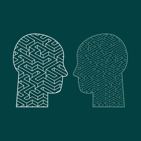 Menselijke intelligentie puzzel met een doolhof in de vorm van een menselijk hoofd als een symbool van de complexiteit van de hersenen denken als een uitdagend probleem op te lossen door de artsen. Platte ontwerp vector illustratie