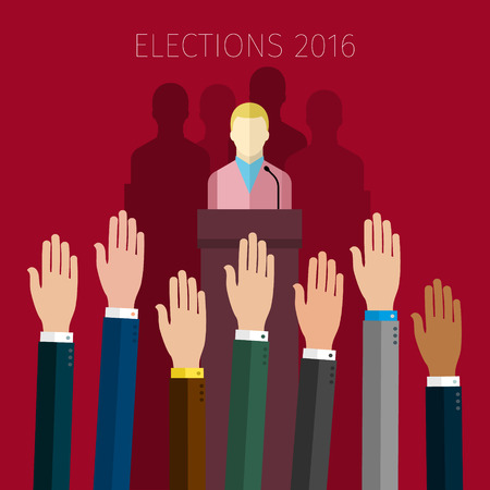 voting: Concept of voting. Hands raised up, election day campaign. Flat design, vector illustration.