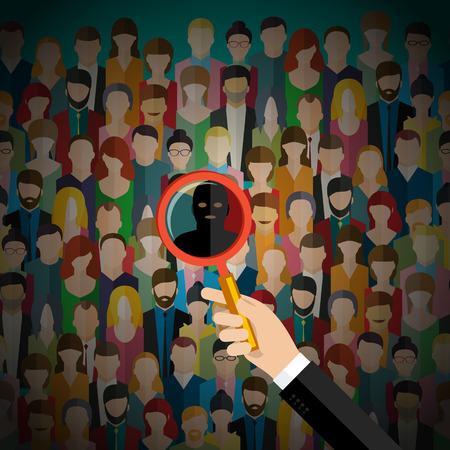 Concept van het terrorisme. Terrorisme dreiging met een menigte van mensen. Platte ontwerp, vector illustratie.