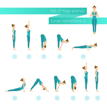 Vector yoga set in flat style. Surya namaskar A. Sun salutation complex. Ashtanga vinyasa yoga. Ilustração