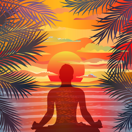 body care: Healthy lifestyle concept. Vector sunset background with silhouette of man practicing yoga in the lotus position. Yoga exercises and recreation.