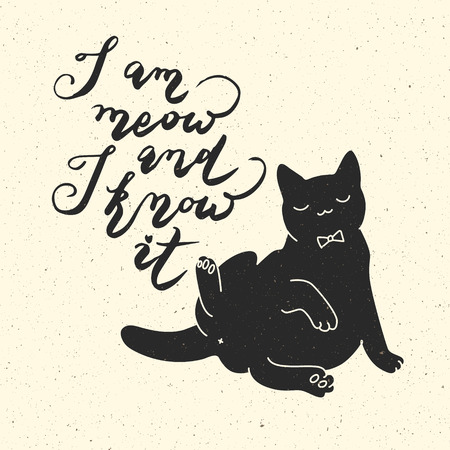 meow: I am meow and I know it. Cat quote. Trendy hipster hand drawn style illustration. Inspiration vector typography vintage poster Illustration