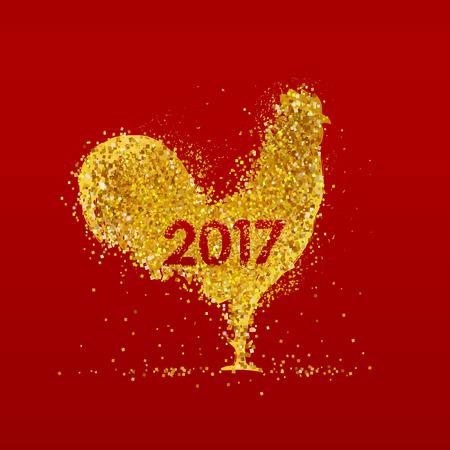 빨간색 배경에 황금 수 탉입니다. 수탉 2017의 년 동안 중국 달력.