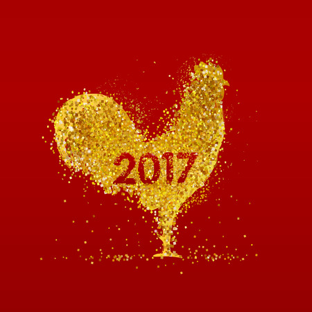 Golden rooster on red background. Chinese calendar for the year of rooster 2017.