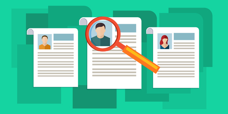 analyzing: Concept of searching professional staff, analyzing personnel resume, recruitment, human resources management, work of hr. Flat design, vector illustration.