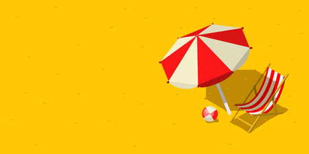 yellow adventure: Vacation and travel concept. Umbrella, beach chair and a ball on the beach. Flat style vector illustration