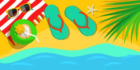 summertime: Vacation and travel concept. Beach holiday. Flat style vector illustration Illustration