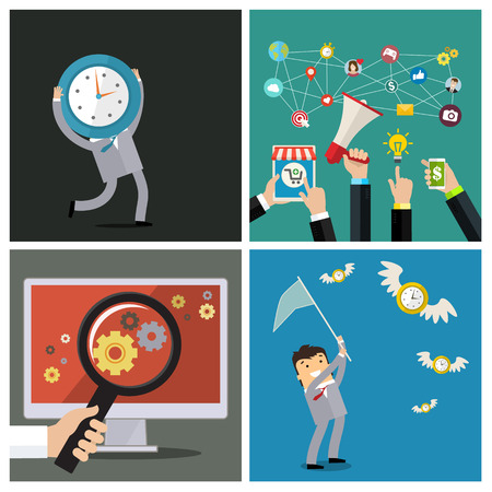 conection: Set of time management and social media concepts. Flat design, vector illustration.
