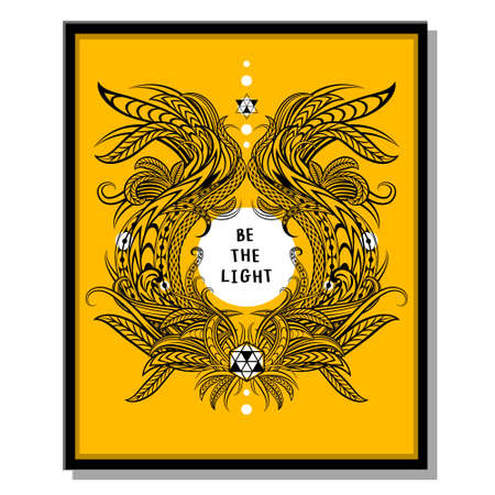 be: Inspirational quotes, vector illustration. Be the light