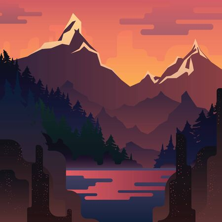 lake sunset: Vector sunset landscape with huge red mountains and lake.