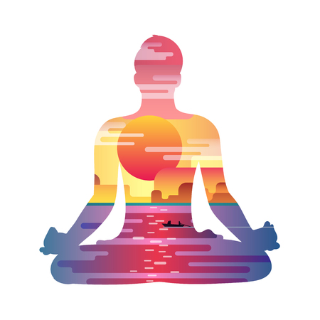 yoga sunset: Healthy lifestyle concept. Vector sunset background with silhouette of man practicing yoga in the lotus position. Yoga exercises and recreation.