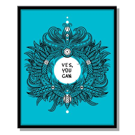 can yes you can: Inspirational quotes. Yes you can poster. Inspirational quote on blue background. Illustration