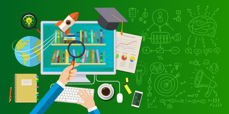 programs: Concept of online education. Distance education, online learning, certificate programs, international educational projects, start of successful career. Flat design vector illustration . Illustration