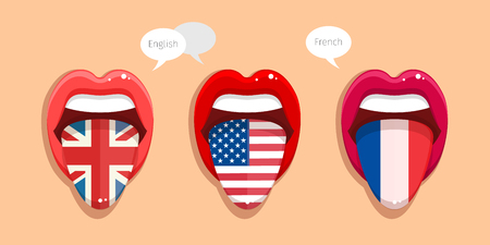 Learning languages concept. Learning English language, American language and French language. English language tongue open mouth with flag of Britain. English language tongue open mouth with flag of USA. French language tongue open mouth with French flag. Ilustrace