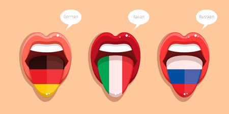 Learning languages concept. Learning German language, Italian language and Russian language. German language tongue open mouth with flag of Germany. Italian language tongue open mouth with Italian flag. Russian language tongue open mouth with flag of Russ