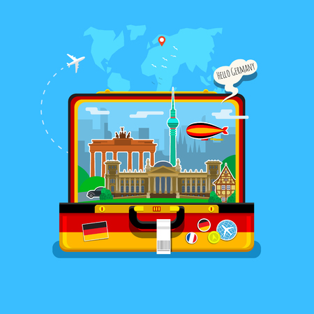 tv tower: Concept of travel to Germany or studying German. German flag with landmarks in open suitcase. Excellent vacation in Germany. Cool trip to Germany. Fine travel to Germany. Time to travel. Tourism in Germany. Flat design, vector illustration