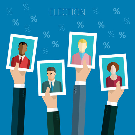 electors: Concept of election. Hands hold portraits of candidates, election day campaign. Flat design, vector illustration.