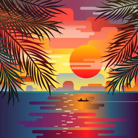 beach sunset: Beautiful beach sunset landscape with palm leaves. Sunset over the sea. Romantic sunset. Flat design, vector illustration.