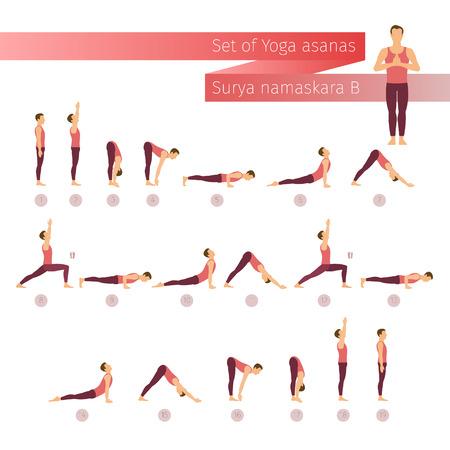 namaskar: Vector yoga set in flat style. Surya namaskar B. Sun salutation yoga complex. Ashtanga vinyasa yoga. Man doing yoga. Yoga lifestyle