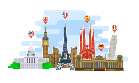 Concept of travel or studying languages. Landmarks in flat style. Time to travel in the world. Flat design, vector illustration.