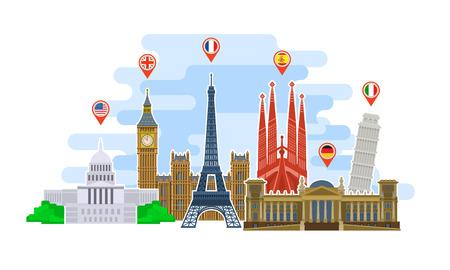 Koncepcja podróży lub nauki języków. Punkty orientacyjne w stylu płaskim. Czas na podróż w świecie. Płaski projekt, ilustracji wektorowych.