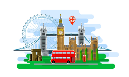 english flag: Concept of travel or studying English. English flag with landmarks. Cool trip to England. Time to travel. Tourism in England. Flat design, vector illustration