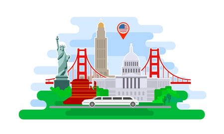 Concept of travel or studying English. American flag with landmarks. Cool trip to USA. Time to travel. Tourism in USA. Flat design, vector illustration