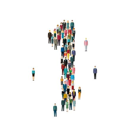 number of people: Numbers made of people. Large group of people in shape of number one 1. Flat design, vector illustration.