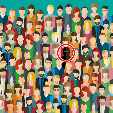 Concept of terrorism. Terrorism threat with crowd of people. Terrorist in the crowd. Flat design, vector illustration.