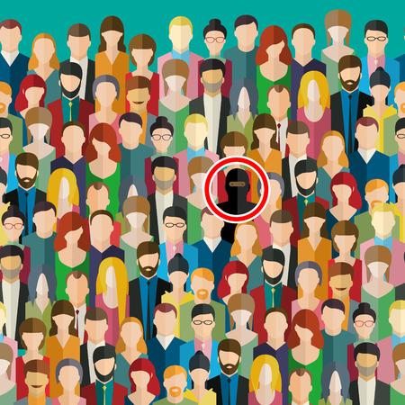 Concept van het terrorisme. Terrorisme dreiging met een menigte van mensen. Terrorist in de menigte. Platte ontwerp, vector illustratie.