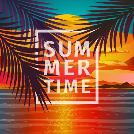 sunrise beach: Beautiful beach sunset landscape with palm leaves. Romantic sunset. Sunset over the sea. Flat design, vector illustration. Illustration