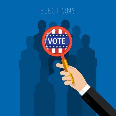 nomination: Concept of election. US Presidential election 2016. Flat design, vector illustration.