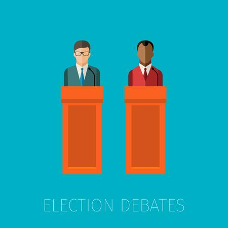 press conference: Concept of election debates or press conference. Flat design, vector illustration.