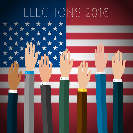 voting hands: Concept of voting. Hands raised up, election day campaign. US Presidential election 2016. Flat design, vector illustration. Illustration