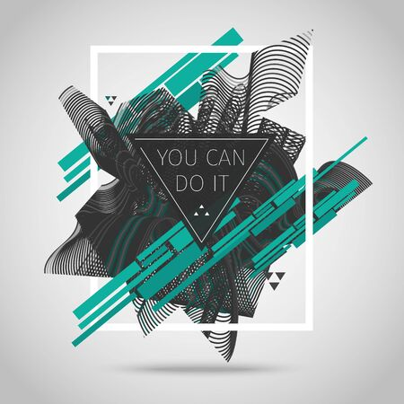 You can do it. Inspirational quote vector illustration poster.