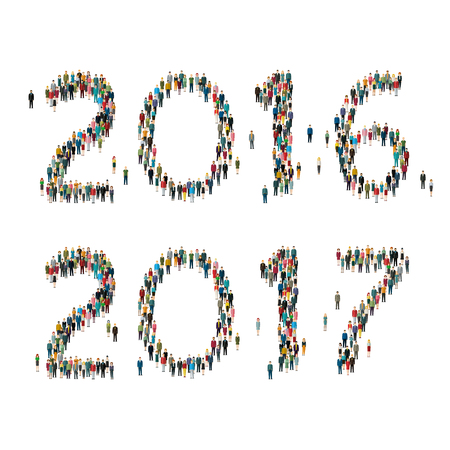 forming: 2017 Numbers formed out from celebrating people. Top view.  Flat design, vector illustration.
