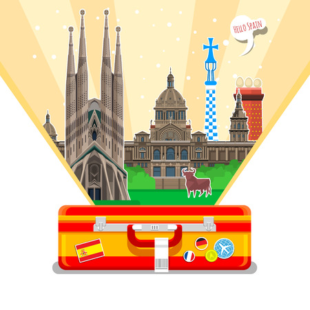 Concept of travel to Spain or studying Spanish. Spanish flag with landmarks in open suitcase. Excellent vacation in Spain. Cool trip to Spain. Fine travel to Spain. Time to travel. Tourism in Spain. Flat design, vector illustration