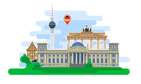 Concept of travel to Germany or studying German. German flag with landmarks. Excellent vacation in Germany. Cool trip to Germany. Fine travel to Germany. Time to travel. Tourism in Germany. Flat design, vector illustration Çizim