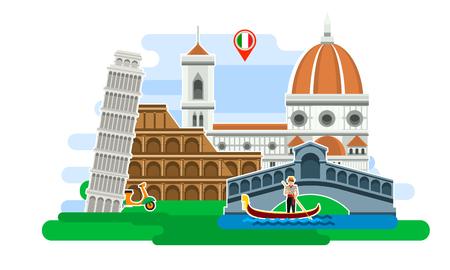 leaning tower of pisa: Concept of travel to Italy or studying Italian. Italian flag with landmarks. Excellent vacation in Italy. Cool trip to Italy. Fine travel to Italy. Time to travel. Tourism in Italy. Flat design, vector illustration