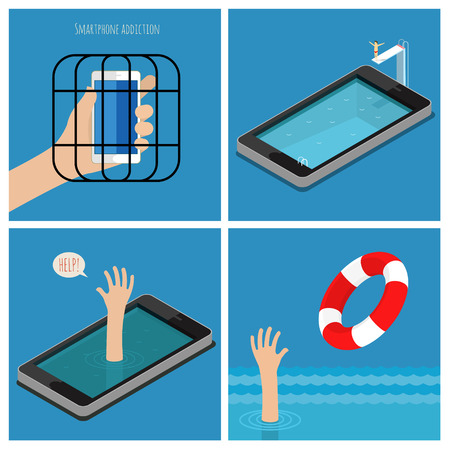 Set of Smartphone addiction concept. Smartphone in the cage. Dependent help, get rid of dependence. Flat design vector illustration
