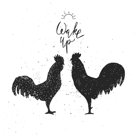 wake up: Wake up. Hipster vintage design with roosters. Hand drawn black roosters on white background. Roosters black silhouette. Illustration